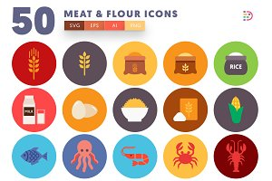 50 Meat & Flour Icons