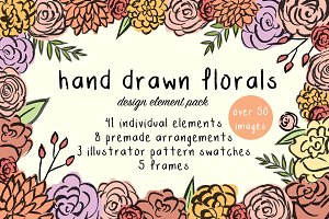 Hand Drawn Floral Design Element Set