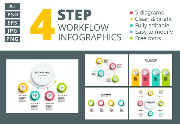 4 Step Workflow Infographics