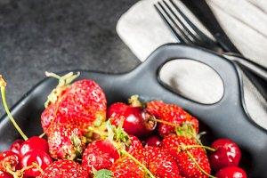 Fresh cherries and strawberries