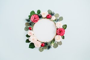 Embroidery frame with roses