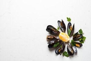 Boiled mussels on white