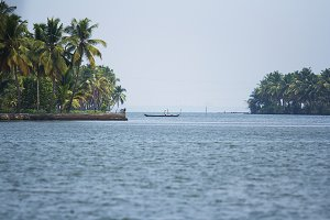 A boat in Kerala backwaters, India