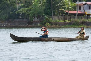 Women in a boat, backwaters, India