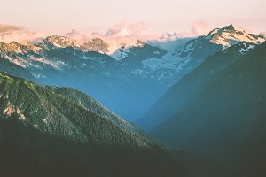 Sunset Mountains peaks and forest