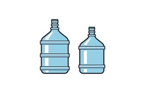 Big bottles with clean water. Flat icons. Plastic container for the cooler. Isolated on white background. Vector illustration.