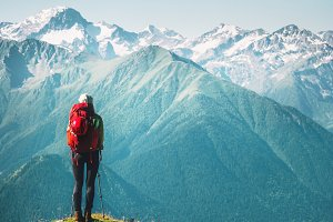 Woman Traveler hiking