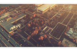 Aerial Drone Flight Photo over industrial zone of Kiev