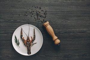 Big fresh alive crayfish on white plate