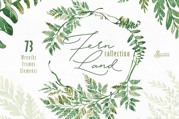 Fern Land. Watercolor Collection