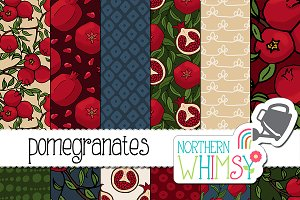 Pomegranate Seamless Patterns