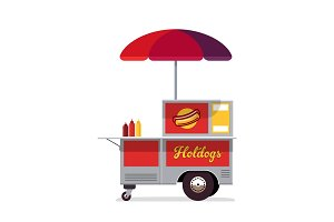 Hot dog street cart. Fast food stand vendor service. Kiosk seller business. Flat style. Vector illustration.