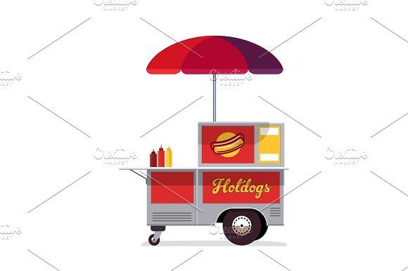 Hot Dog Street Cart Fast Food Stand Vendor Service Kiosk Seller Business Flat Style Vector Illustration