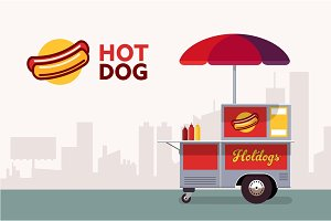 Hot dog street cart. Fast food stand vendor service. Kiosk seller business. Flat banner. Vector illustration.