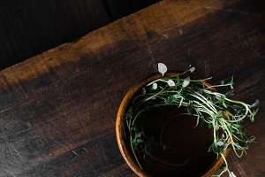 Rough Wood and Herbs in Simple Bowl