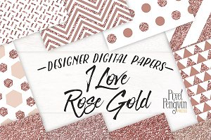 Rose Gold Glitter Digital Paper