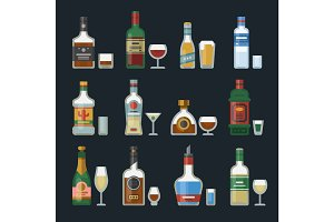 Alcohol strong drinks in bottles cocktail glasses whiskey cognac brandy beer champagne wine vector illustration