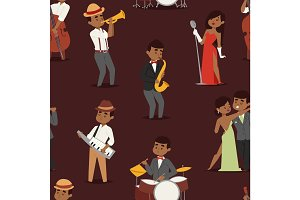 Jazz music seamless pattern group of creative young people playing on instruments vector illustration
