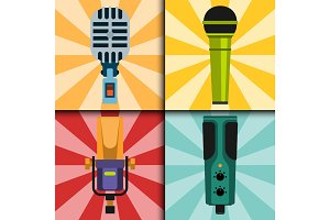 Different microphones types cards journalist vector interview music broadcasting vocal tool tv tool.