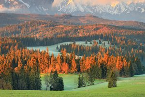 Picturesque valley at the sunrise