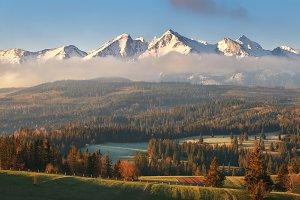 Sunny morning in Alpine valley