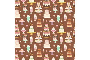 Cake pie tart Happy Birthday cartoon seamless pattern background vector illustration.