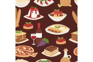 Cartoon Italy food cuisine delicious homemade cooking fresh traditional lunch vector seamless pattern.