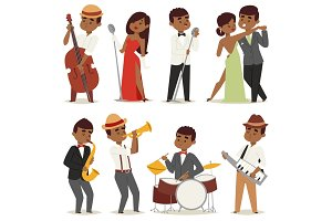 Jazz music band flat group cartoon musician people playing on instruments blues vector illustration.