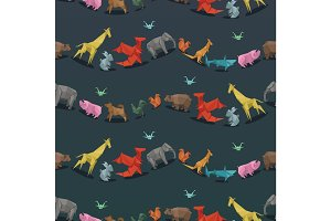 Origami wild paper animals creative decoration vector illustration seamless pattern