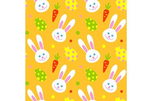 Happy adorable rabbit face cartoon character head mammal and easter eggs holiday seamless pattern