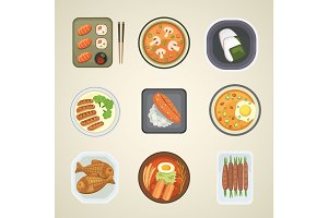 Traditional Japan food meal cooking culture lunch japanese asian cuisine vector illustration