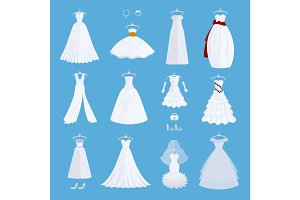 Wedding bride dress elegance style celebration vector illustration isolated on background