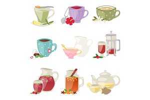 Different tea soft brand drinks glasses and teapot in glass jars healthy eating vector illustration.