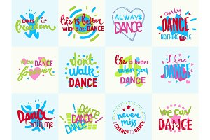 Handdrawn lettering Love Dance and Music phrase isolated on white background calligraphy music logo badge vector illustration.