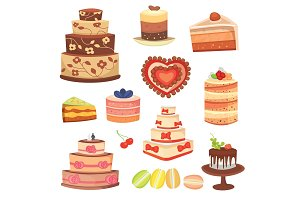 Different wedding cream birthday cake pie vector illustration celebration food