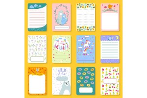 Cute planner children notebooks print design funny organizer greeting note card template vector illustration.