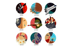 Genre cinema set icons cinematography comedy flat entertainment movie symbol vector illustration.