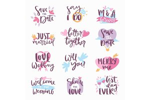 Wedding Day calligraphy lettering handmade invintation greeting card text label vector illustration.