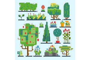 Funny cartoon fantasy game garden tree set vector nature elements enviroment wood graphic illustration