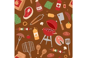 Barbecue home or restaurant rarty dinner products bbq grilling kitchen equipment vector seamless pattern