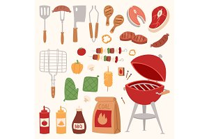 Barbecue home or restaurant rarty dinner products bbq grilling kitchen equipment vector flat illustration