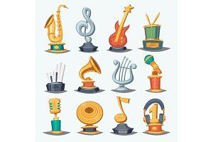 Cartoon music award statuette entertainment winner top artist achievement prize vector illustration.