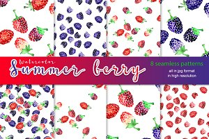 Watercolor summer berry patterns