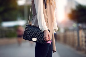stylish female black leather bag