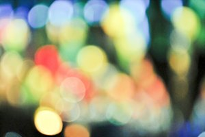 Multicolored defocused bokeh lights