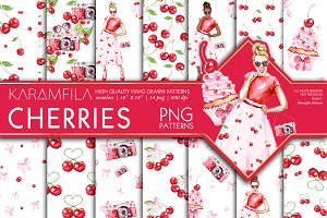 Cherries Seamless Patterns PNG
