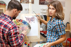 Students in art school