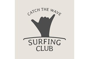 Surfing club logo with shaka hand