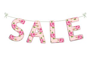 Cute banner Sale as colorful letters on strings in shabby chic style