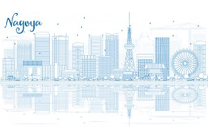Outline Nagoya Skyline